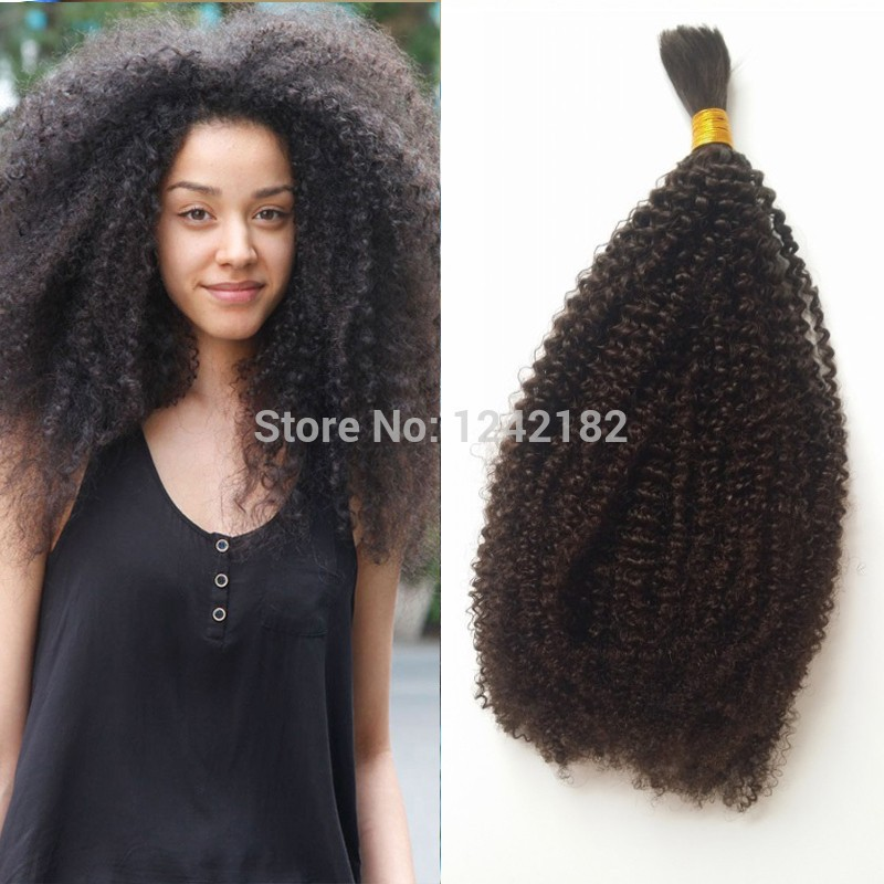 Hot!!! Afro Kinky Curly Bulk Hair for Braiding Human no Attachment 100g Grade 7a Unprocessed Brazilian Kinky Curly Hair no Weft