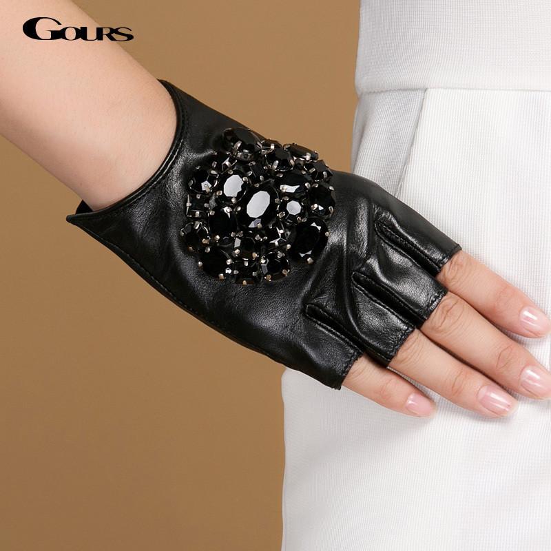 Gours Women's Winter Genuine Leather Gloves Fashion Brand Girls Black Stone Half Finger Gloves Ladies Goatskin Mittens GSL040(China (Mainland))