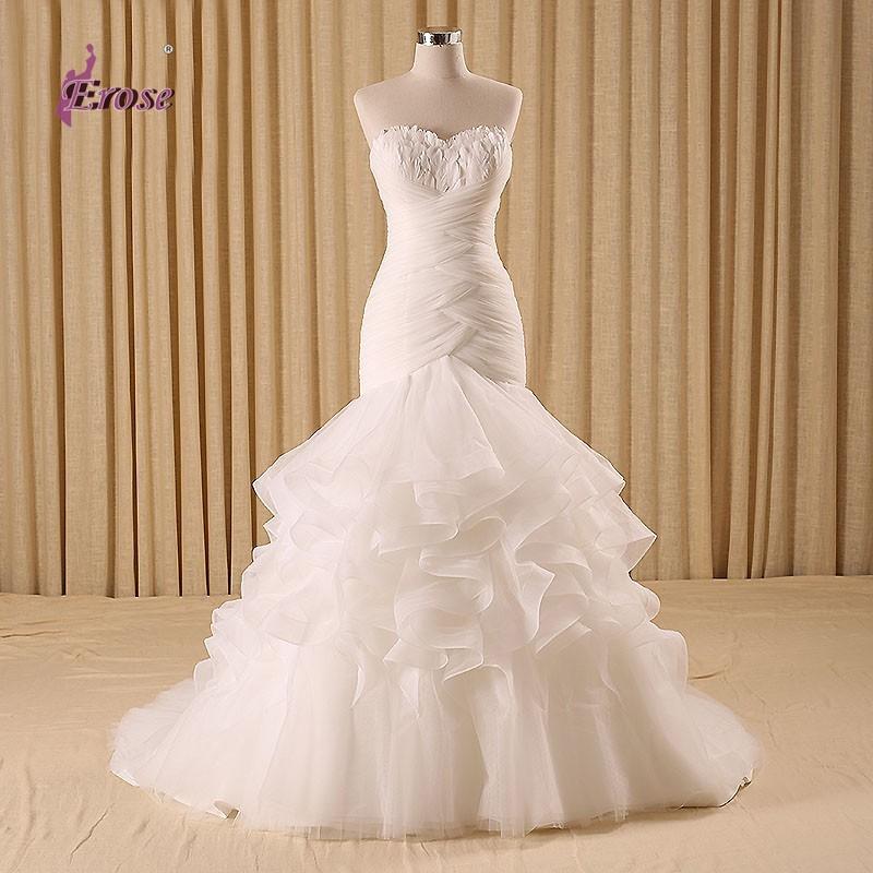 2016 New Sweetheart Feathers Mermaid Wedding Dress Ruffles Floor Length Fish Tail Dresses vestido de noiva de renda CFYW004(China (Mainland))
