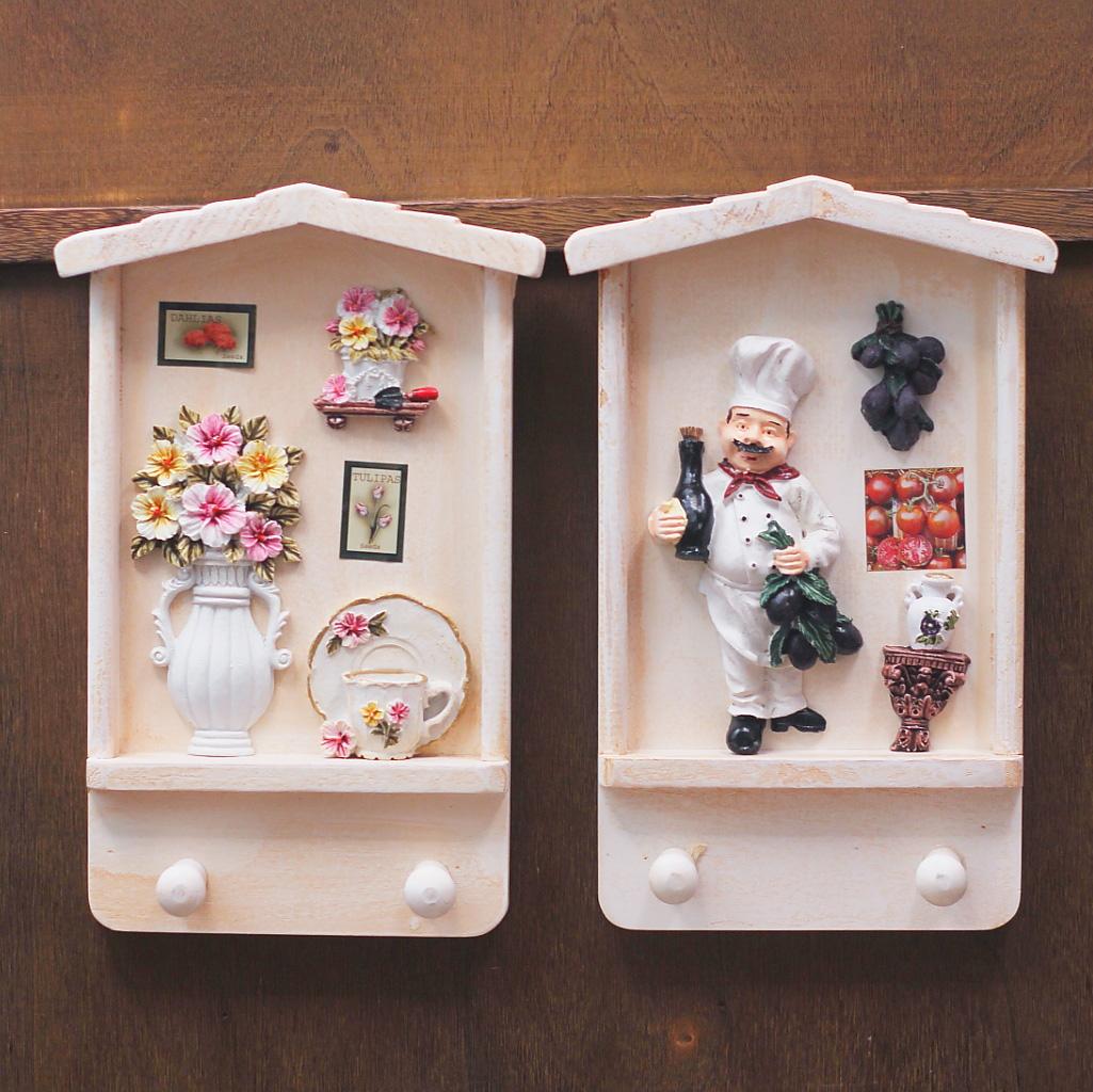 The European and American country vintage wood key box key box hanging wall decorative hook restaurant decoration(China (Mainland))