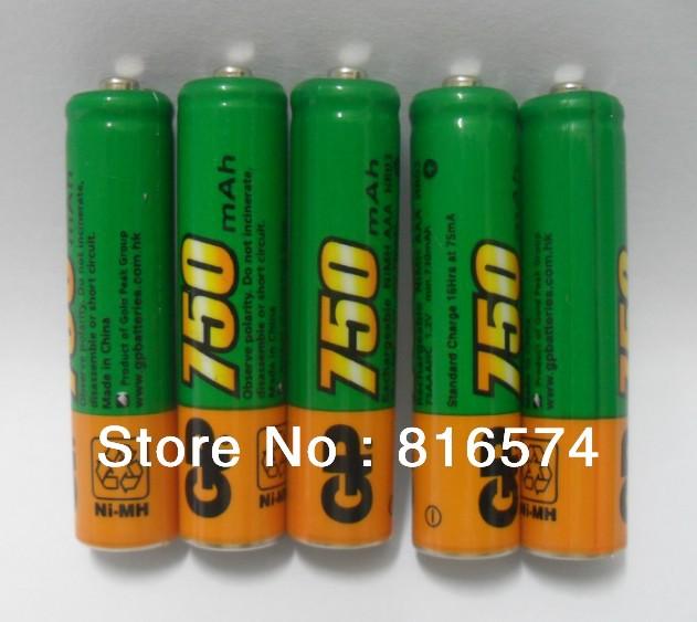 8pcs/lot Genuine GP AAA Ni-MH 750mAh 1.2V Rechargeable Battery Batteries Free Shipping(China (Mainland))