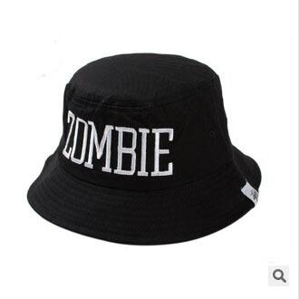 2015 Letter Zombie cotton bucket hat panama black for women style bob hat men(China (Mainland))