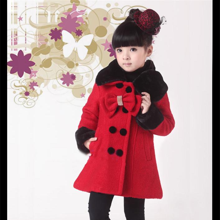 2015 Fashion girls wool coat Outerwear pink wool jacket girl Fur Collar Children winter coat KC-1314<br><br>Aliexpress