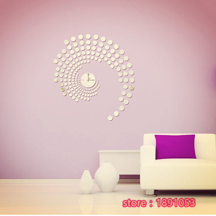 3D circle pattern wall stickers acrylic wall clock on the living room sofa TV backdrop wall stickers decorative mirror(China (Mainland))