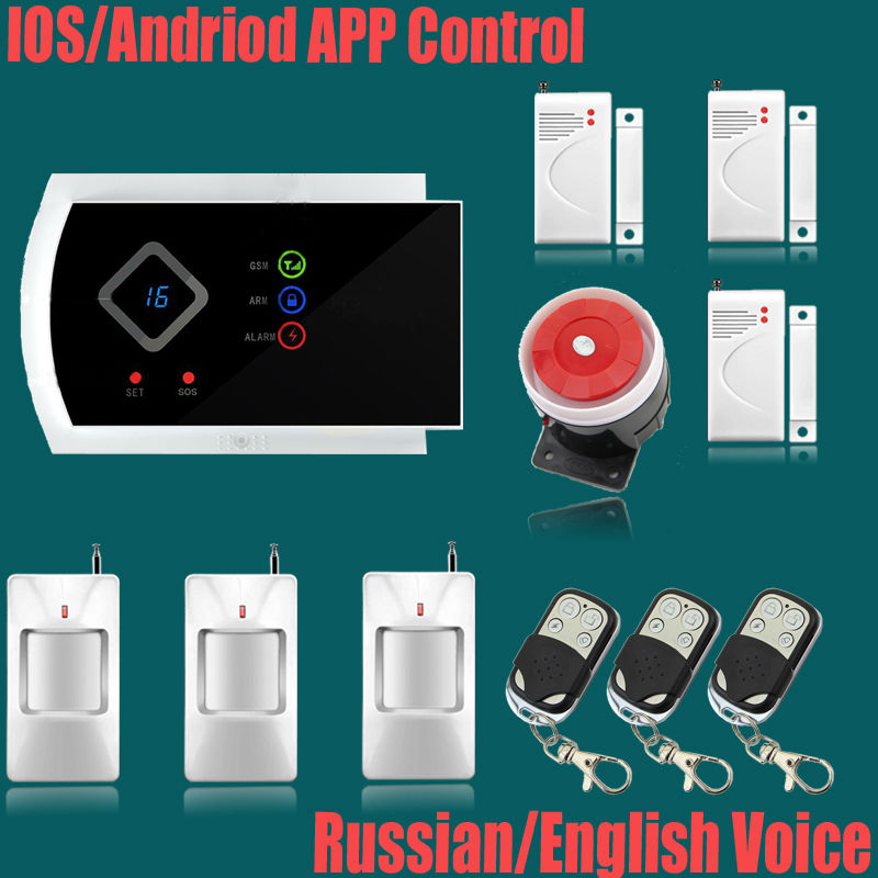 Фотография Metal Remote Control English/russian Voice Prompt Wireless door sensor Security Home GSM Alarm systems LCD Display Wired Siren