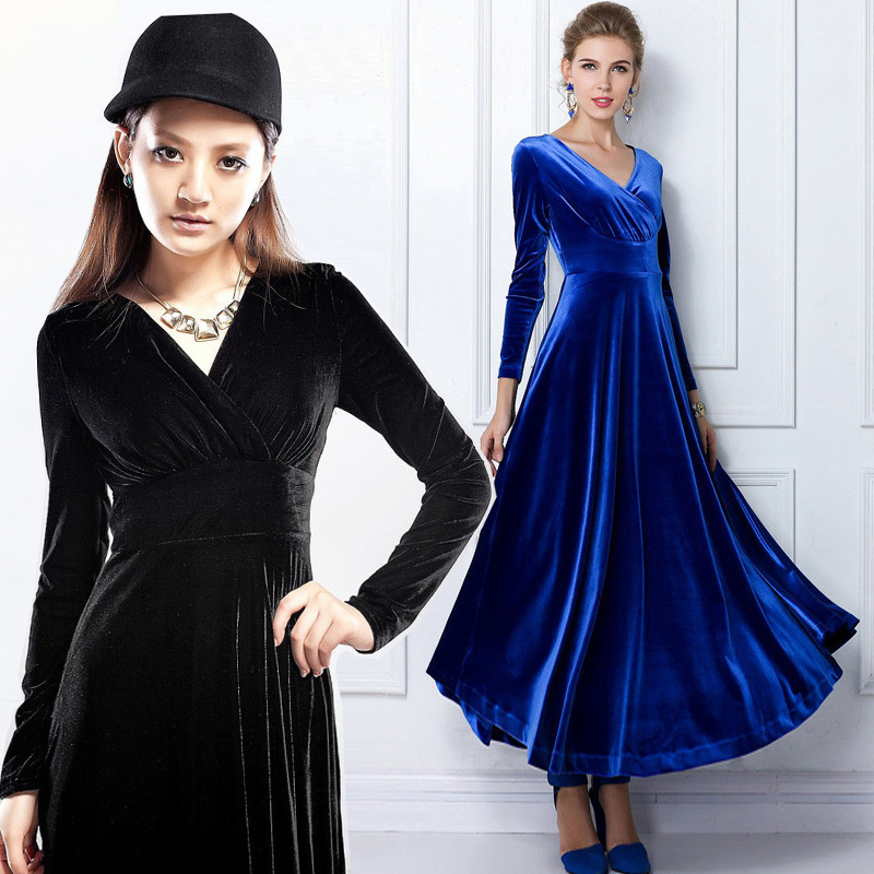 2015 Lady Autumn Winter Gowns Ankle Length Deep V Neck Long Sleeve Dress Corduroy Blue Green Women Fashion Slim Casual Dresses(China (Mainland))