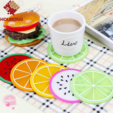 1 pcs 6 Style Novelty Round Fruit Silicone Pad Mat Heat Resistant Dining Table Mat Creative Skid Insulation Coffee Cup Pad Mat(China (Mainland))