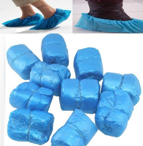 Гаджет  50 Pairs Disposable Plastic Shoe Covers Carpet Cleaning 100 PCS Blue Overshoe None Обувь