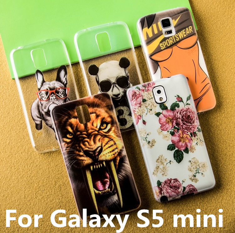Soft S5 mini Case 0.3mm Ultra Thin Painting Transparent TPU Case for Samsung Galaxy S5 mini back cover phone Cases(China (Mainland))