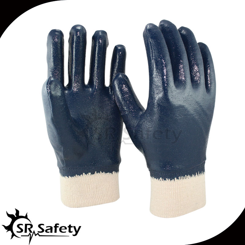 Free Shipping !!! SRSAFETY 6PAIRS Full Coated Nitrile heavy-Duty Gloves,Jersey Liner,knit wrist(China (Mainland))