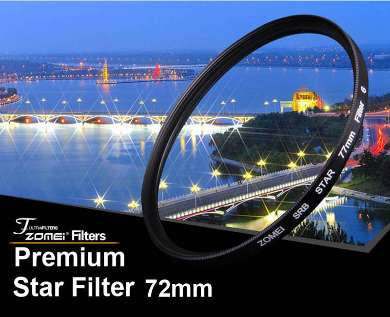 Premium Original Zomei 72mm Professional Star Filter 6 Line Piont 6PT for Canon Eos Nikon Sony Pentax Olympus DSLR Camera Lens(China (Mainland))