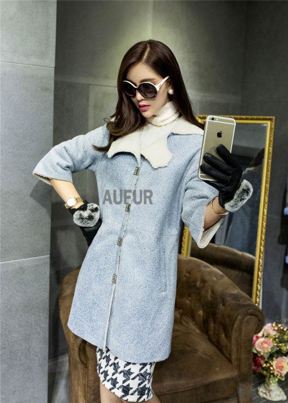 Light Blue Genuine Sheep Leather Coat Lamb Fur Lining White Turn-down Collar Warm Double-faced Outwear Pocket New Winter AU00655Одежда и ак�е��уары<br><br><br>Aliexpress