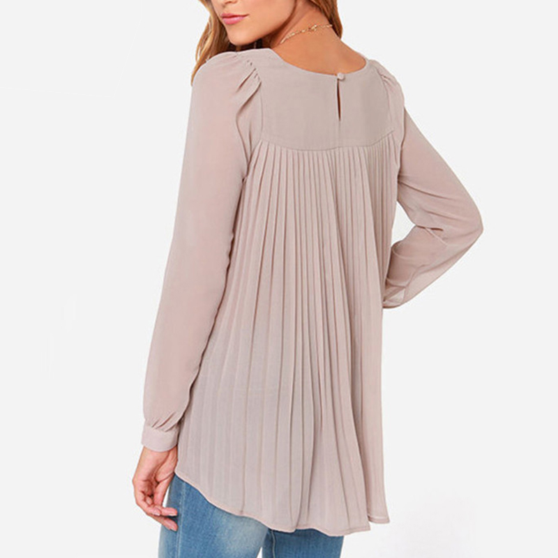 Ladies Office Shirts 2015 New Fashion Women Blouse European Style Chiffon Blouses Long Sleeve Pleated Back Tops X60*E3512#S1(China (Mainland))