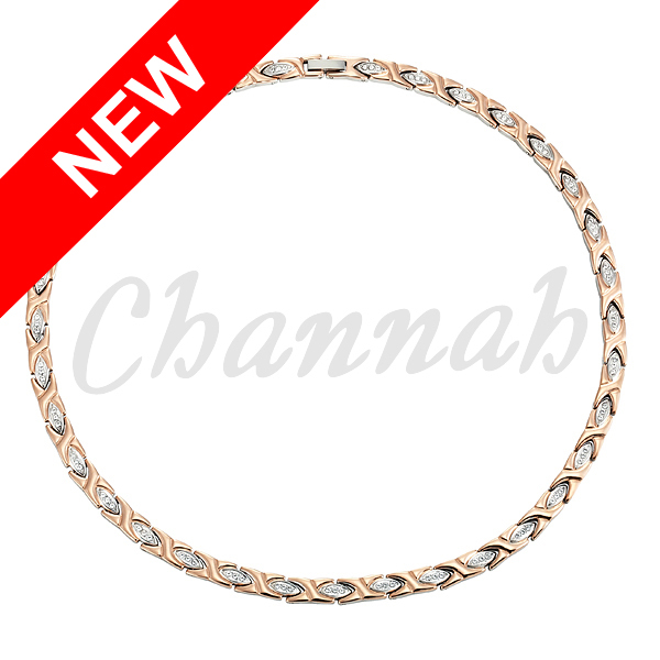 Women 96pcs Crystals Magnetic Stainless Steel Necklace Rose Gold Free Shipping via Hong Kong Post Bio Jewelry 2016 Ladies(China (Mainland))