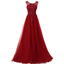 Dark Red Evening Dresses with Scoop Beaded Appliques Bedaed stido De Festa Longo Plus Size Lace Up Back Formal Gowns Wear(China (Mainland))