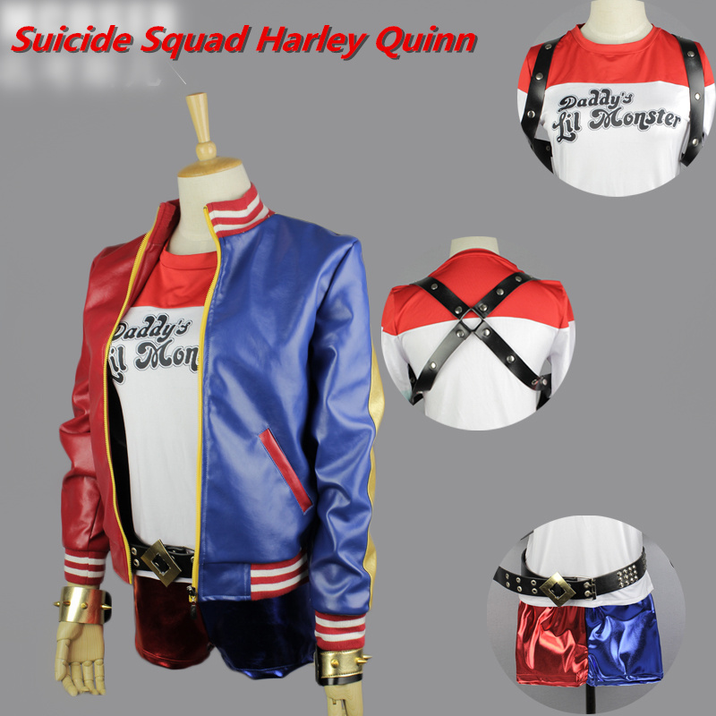 New Arrival Suicide Squad Pop Batman Harley Quinn Cosplay Costume Jacket with T-Shirt S-XXL(China (Mainland))