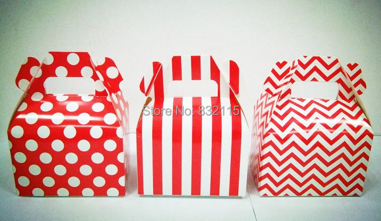 Larger Wedding Gable Boxes - Red Polka Dots Stripe Chevron party favor candy buffet table favour boxes party box gift box(China (Mainland))