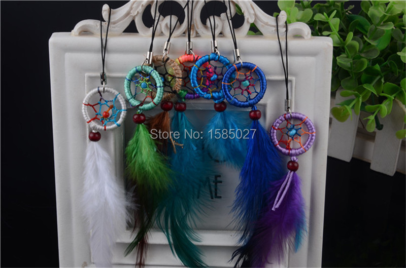 Handmade Native American Style Weaving Dream Catcher Mobile Decor Chain Key Chain Cell Phone Bag Accessories 12 Colors Mixed(China (Mainland))