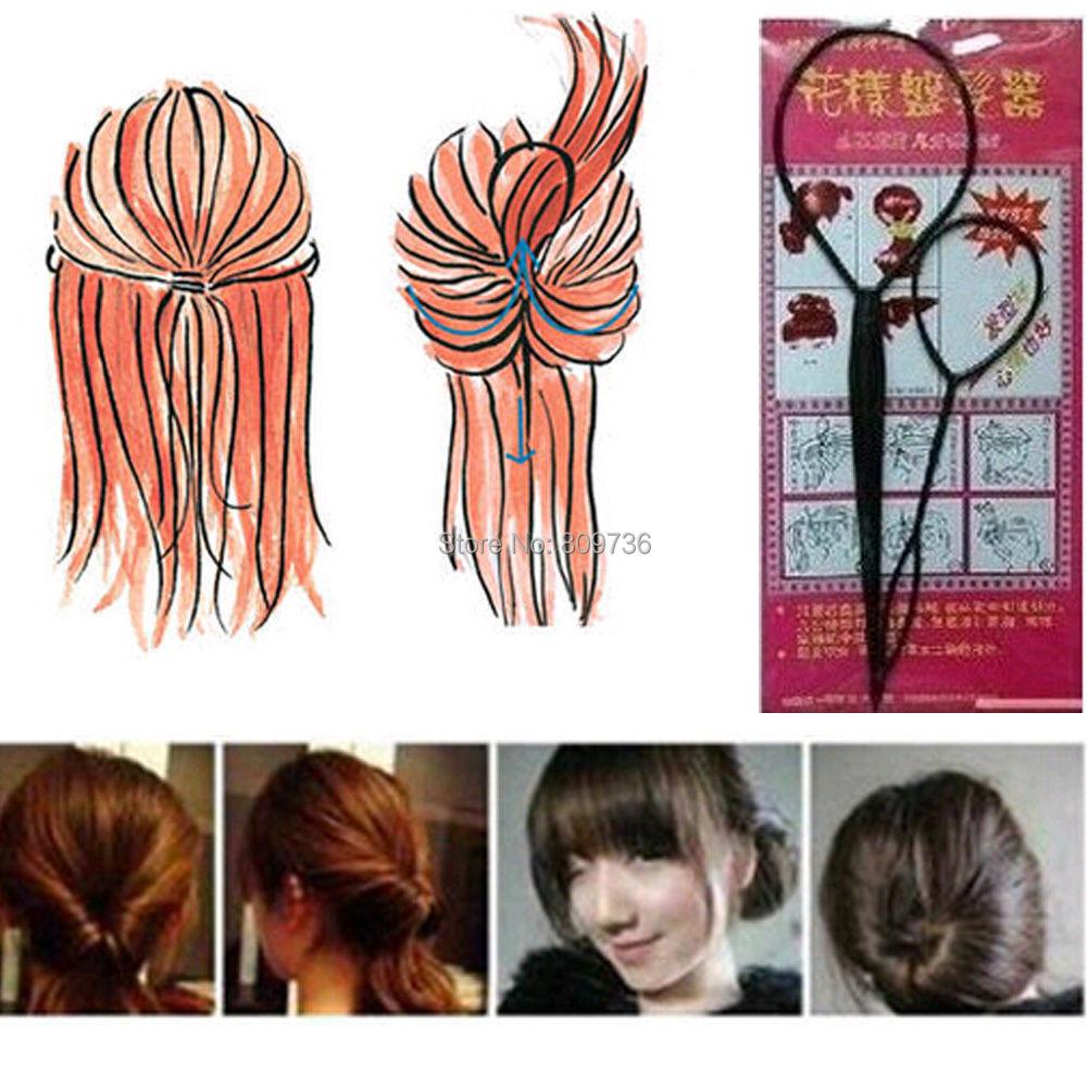 New 2pcs Magic Topsy Tail Braid Hair Maker Ponytail Styling Tools Hair Accessories/Curler Hair Clip Tool Black Free(China (Mainland))