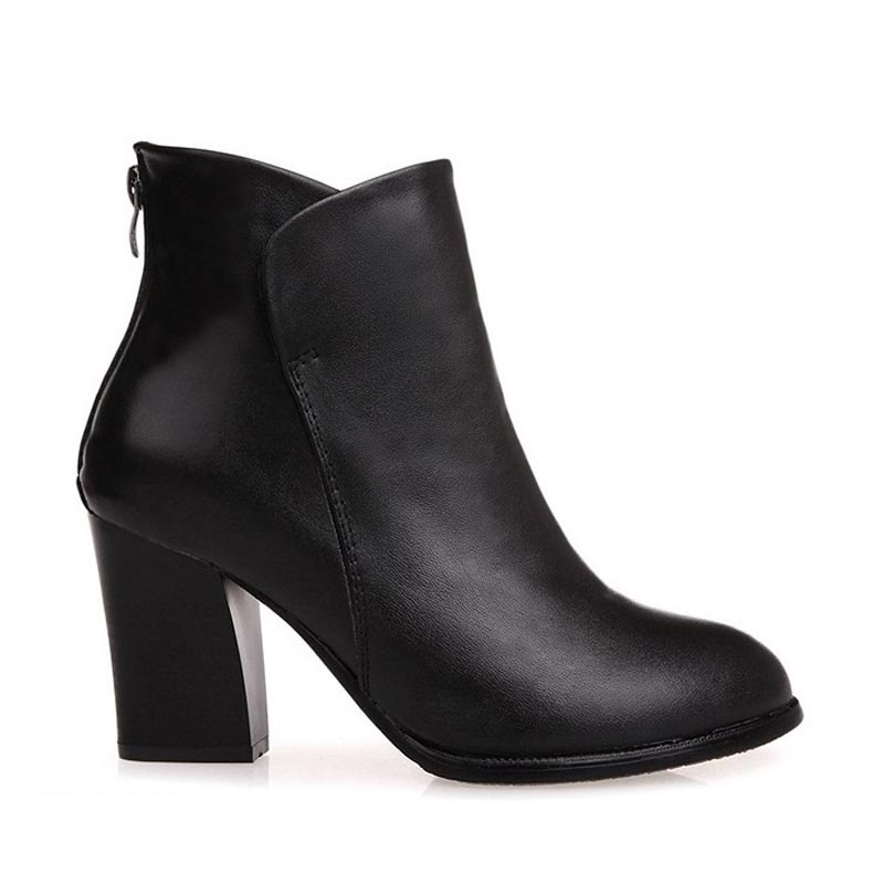 Hot! 2015 Black High Heels Women Boots Genuine Leather Ankle Spring Autumn Ladies Shoes Woman Bottes Femme Botas Mujer Femininas