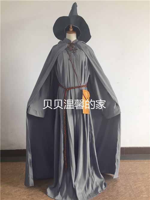 Lord Of The Rings Gandalf Wizard Cosplay Halloween Costume Custom with hat