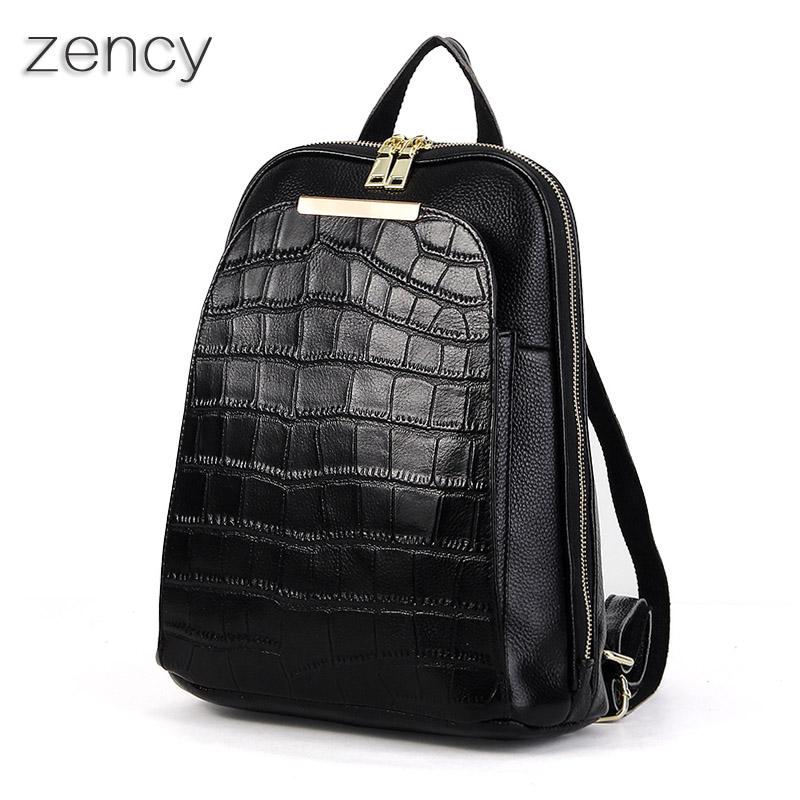 ZENCY Backpack Genuine Leather Women's Backpacks Ladies Girl's School Bag Top Layer Cowhide Mochila(Hong Kong)