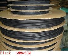 wholesale and retail! 6MM Heat shrinkable tube black  heat shrink tubing Insulation casing 50m Free shipping(China (Mainland))