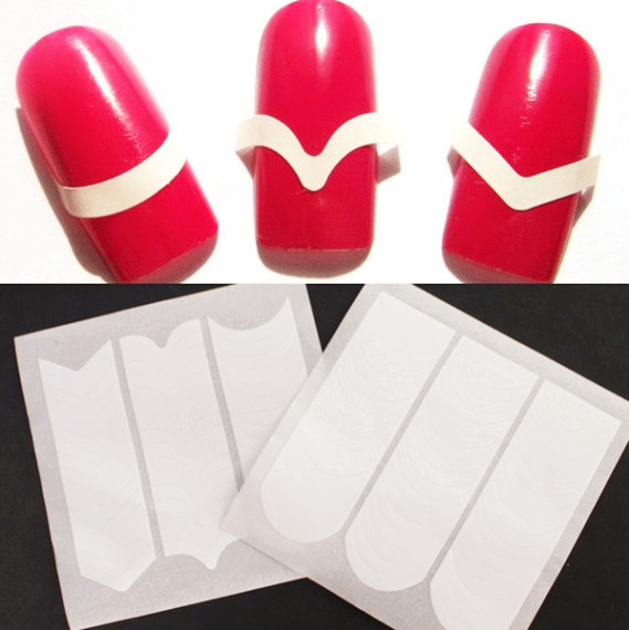 2 Sheets Prefect French Manicure Nail Edge Tip Guides Strip Nail Art Sticker(China (Mainland))