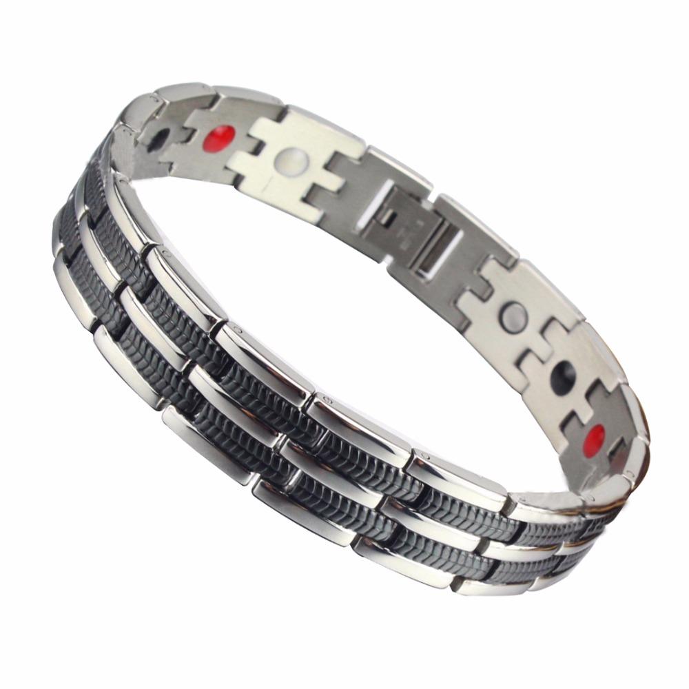 Men's Titanium Steel Double Row Black Plated Bracelet Power Bio Magnetic Germanium Infrared Negative Ion Bracelet For Men(China (Mainland))