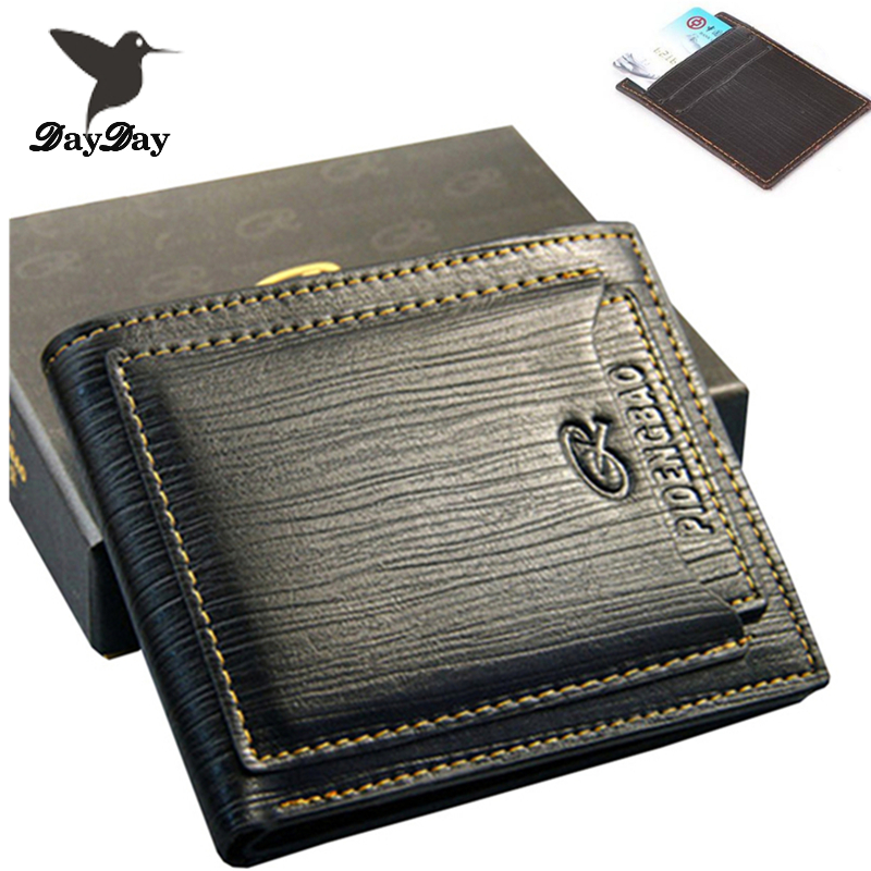 2015 New fashion genuine leather men's wallets designer famous brand money clip vintage carteiras three color Free Shipping(China (Mainland))