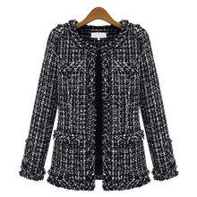 Брендовое короткое Свободное пальто на осень и зиму черно-белый костюм в клетку, платье для самостоятельного выращивания(China)