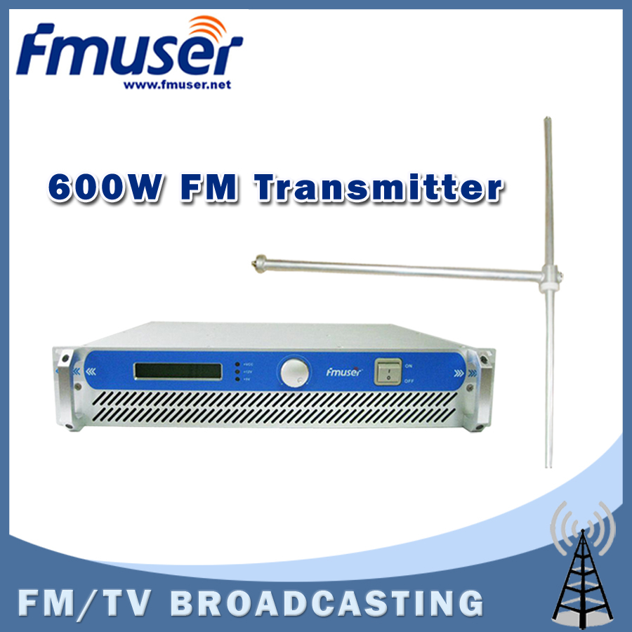 Free shipping FMUSER 600W 2U FSN-600 FM Broadcast Radio Transmitter 87.5-108 MHz 0-600w + FU-DV1 Dipole Antenna +30m 1/2'' Cable(China (Mainland))