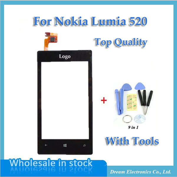 10pcs/lot OEM Front Panel & Touch Screen Digitizer for Nokia Lumia 520 LCD Display Replacement with Frame + Opening tools