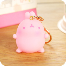 Kawai Molang Rabbit Pink Rabbit PVC Figure Keychain Bag Pendant llavero Potatoes Rabbit Doll Girl's Gift Kids Toy Christmas Gift