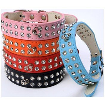 Free shipping 5 colors available  Bling 2 Rows Czechic stones Dog Collar #H0006