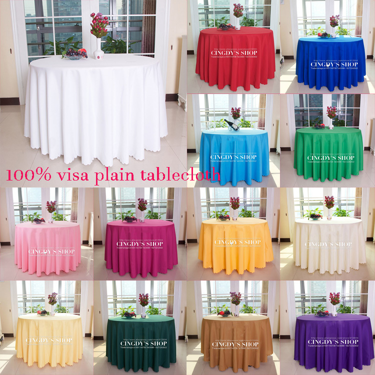 "100% visa polyester plain table linen 120""Dia round tablecloth(China (Mainland))"