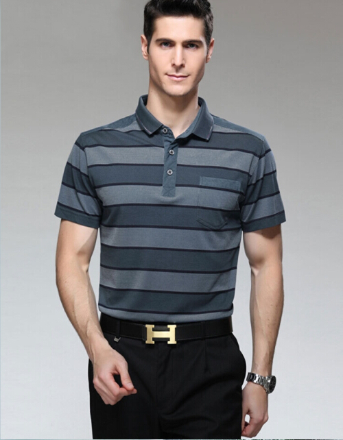 Men Striped Polo Shirt Summer New Products Business Polo Shirts Short Sleeve Middle aged Men Polo Shirts Men Striped Polo Shirt(China (Mainland))