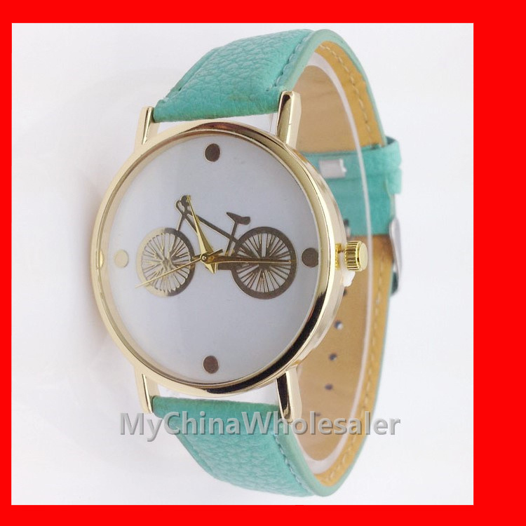 8 Multi Colors New Leather Band Stylish Bicycle Fashion Women's Wristwatches Numbers Scale Cheap Bike Dial Casual Watches - MyChinar store