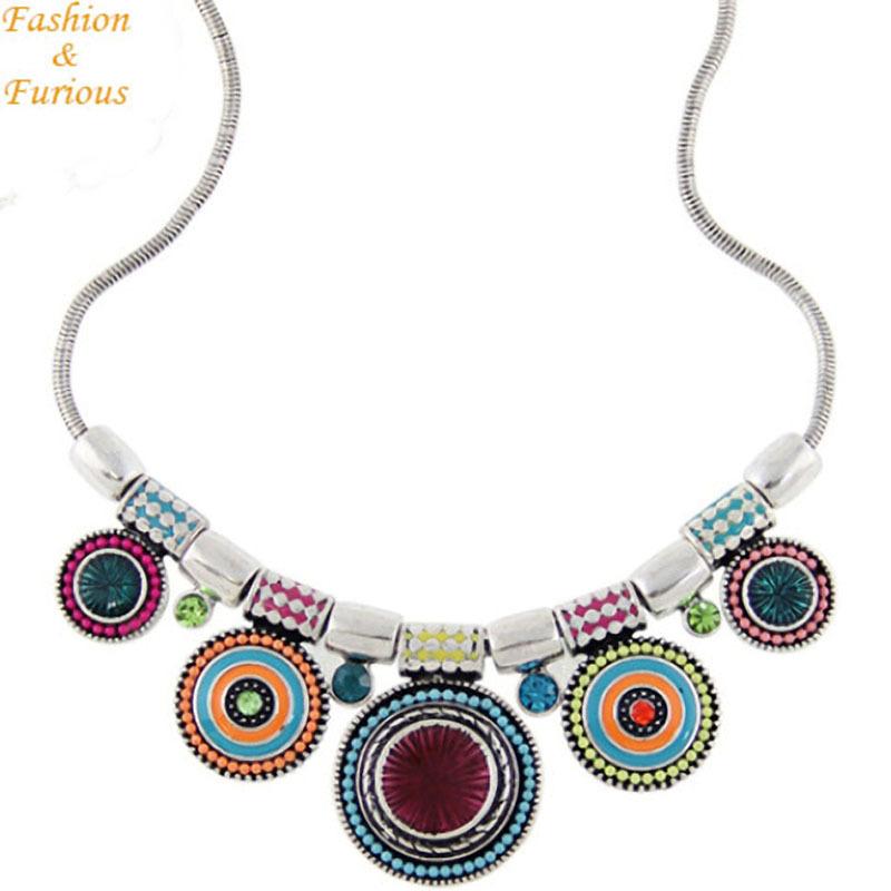 Bohemia Vintage Metal Enamel Statement Necklace Women Multicolor Necklaces Pendants Jewelry Colar For Gift Party