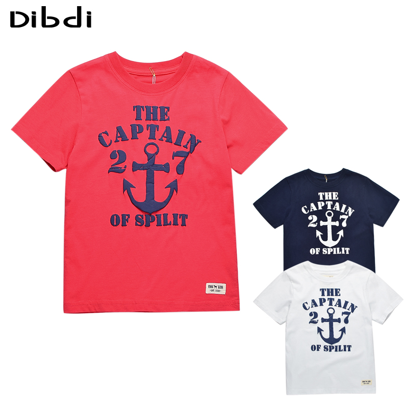 New 2016 Kids T-shirt For Boys With Anchor Cotton Boy Clothes T shirts For Children Letter Boys Tops 3 Colors Kids Clothes CG056(China (Mainland))