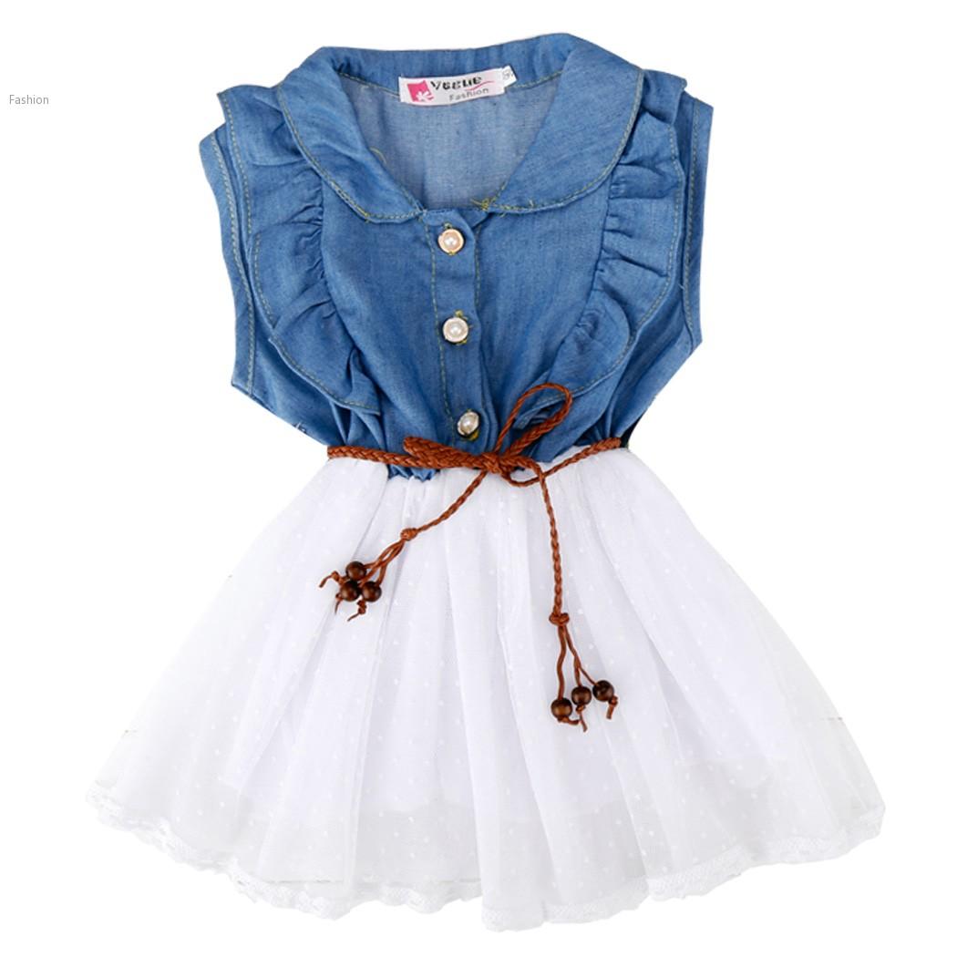 New 2015 Girl Clothing Summer Denim Dress for Girls Brand Kids Jeans Tutu Dress Cute Beautiful ...