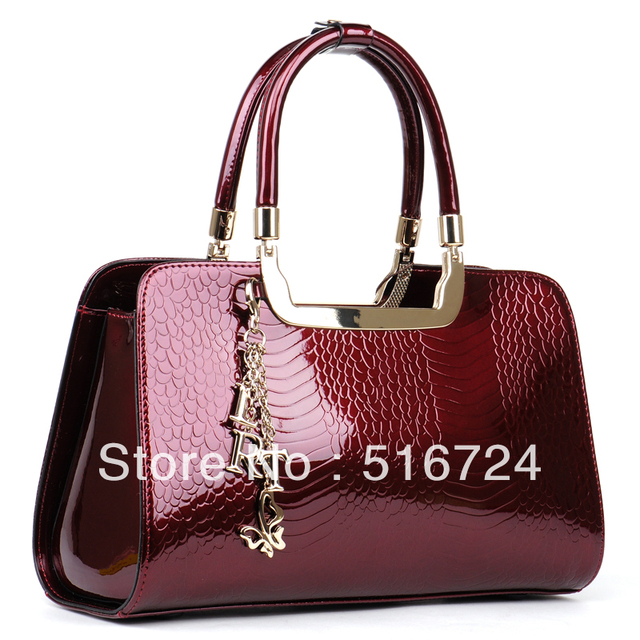 Crocodile women's handbag 2015 crocodile pattern cowhide japanned leather  handbags genuine
