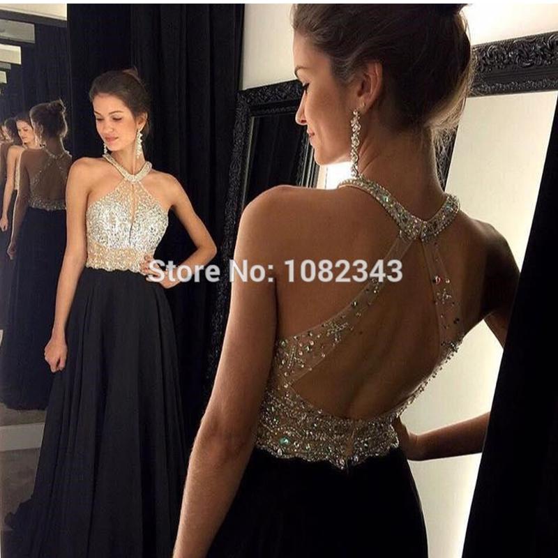 New Fashion A- Line Halter Black Chiffon Long Evening Dresses 2016 Sexy Backless Beading Floor Length Dress 011301