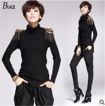 100% cotton Personality fashion women sweaters 2015 vintage epaulet rivet tassel women sweater turtleneck black knit sweaters(China (Mainland))