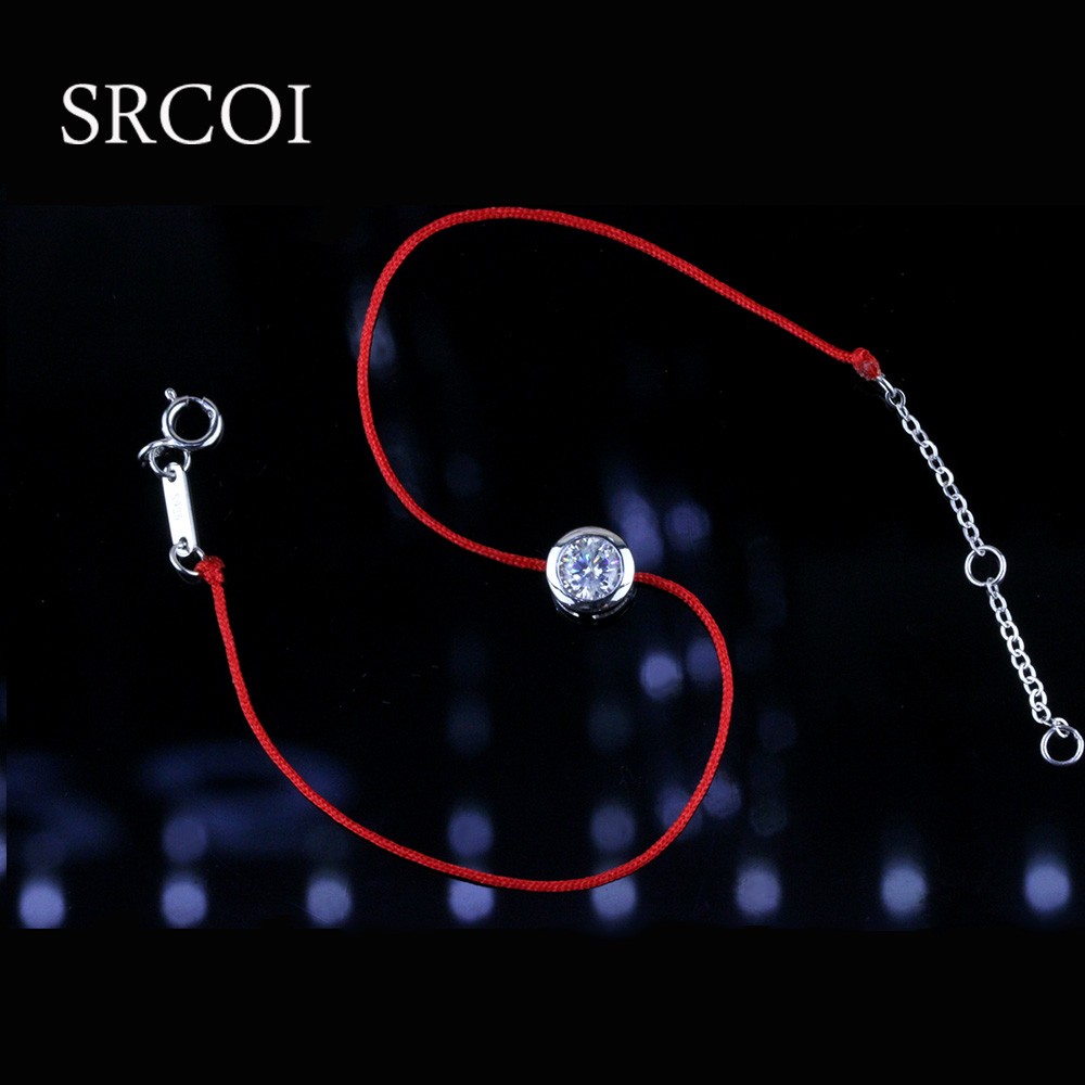 Colorful red string bracelet meaning with zircon 925 sterling silver