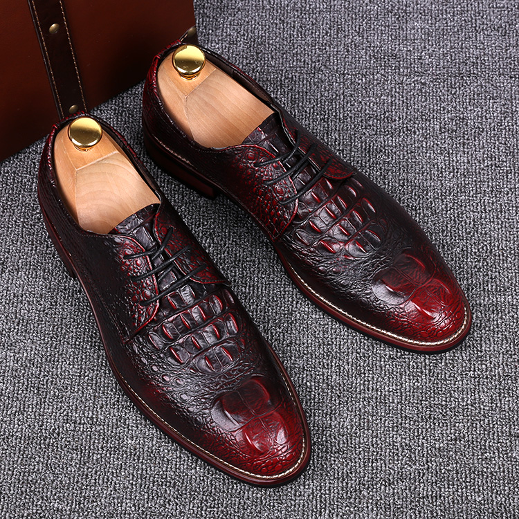 men crocodile pattern genuine leather shoes casual print carved brogue gentle office wedding dress luxury flats shoe oxfords man - Miyado store