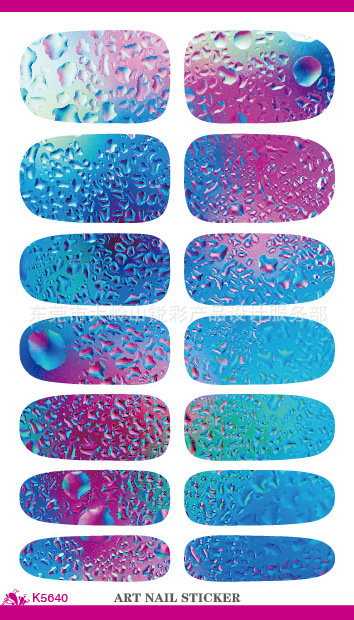 Fashion Nail Art Stickers Mysterious Blue Ocean Drops Water Transfer Nail Sticker 3d Manicure Minx Nail Wraps Foil Decals(China (Mainland))