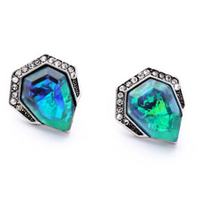 2016 Hot Sale Brand Vintage Triangle Rhinestone Earrings Blue Acrylic Gem Stud Earring For Women Charm Jewelry(China (Mainland))