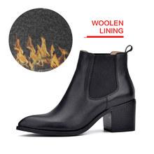 Donna-in 2017 new style genuine leather mắt cá chân khởi động nhọn ngón chân gót chân dày chelsea boots bê da phụ nữ khởi động nữ giày dép(China)