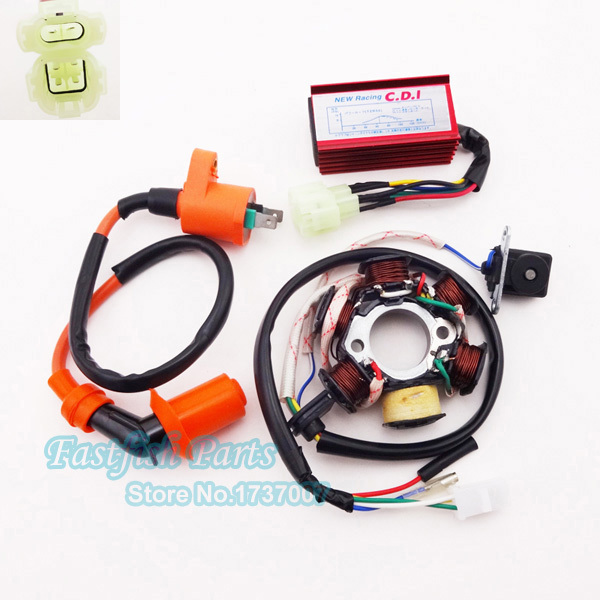 Stator Magneto Racing Ignition Coil CDI AC Box For GY6 50cc Moped Scooter ATV Quad For Motorcycle Motocrass Pit Dirt Bikes Parts(China (Mainland))